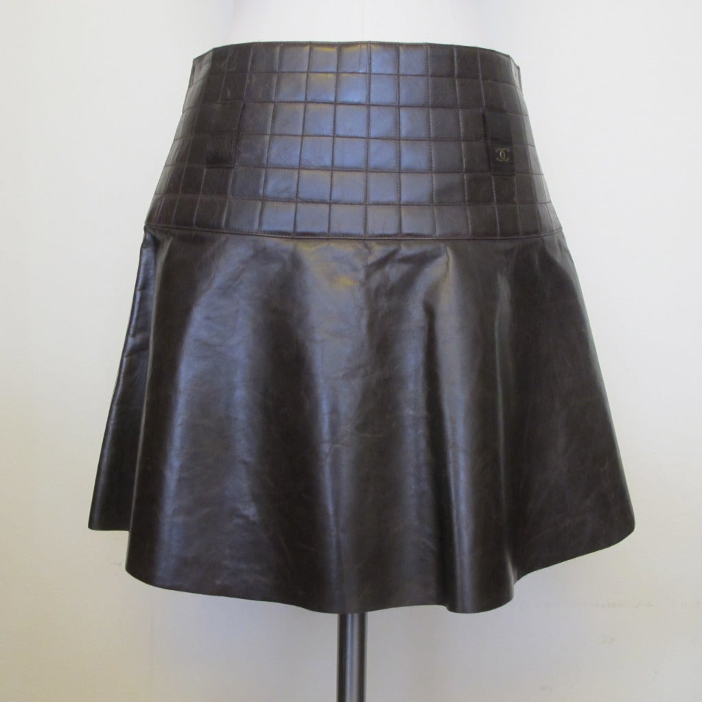 chanel brown quilted leather skirt at 1stdibs