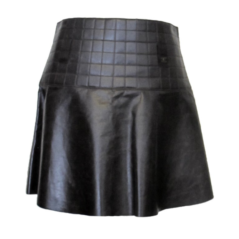 Chanel Brown Quilted Leather Skirt For Sale at 1stdibs