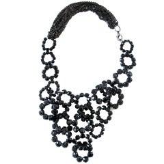 Vera Wang Black Crystal Bib Necklace