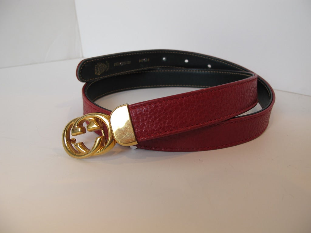 Gucci Red Thin Leather Belt with Gold Tone Buckle For Sale ...