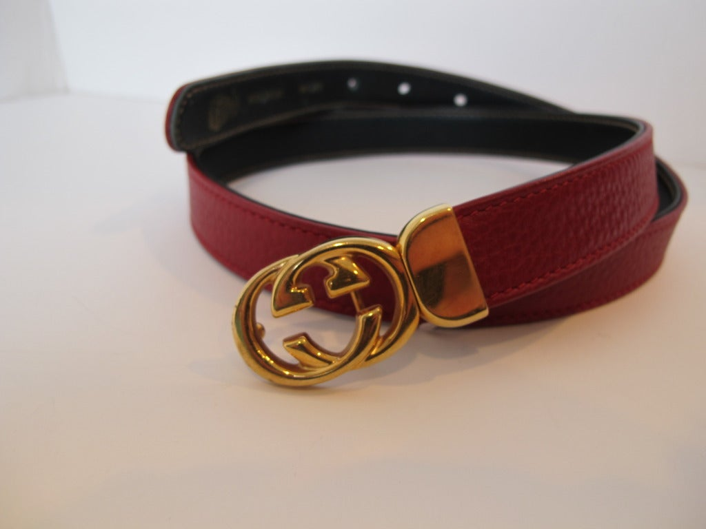 Gucci Red Thin Leather Belt with Gold Tone Buckle image 9