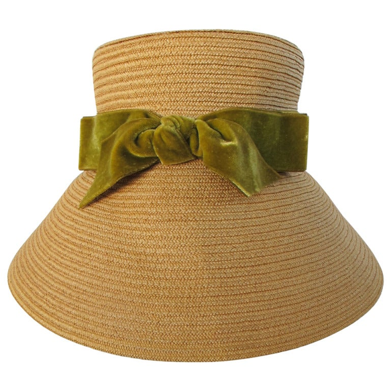 1960's Audrey Hepburn Style Italian Straw Hat 1
