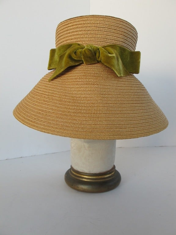 1960's Audrey Hepburn Style Italian Straw Hat 2