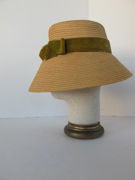 1960's Audrey Hepburn Style Italian Straw Hat 3