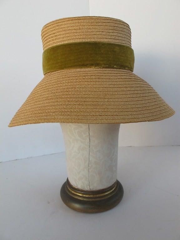 1960's Audrey Hepburn Style Italian Straw Hat 4