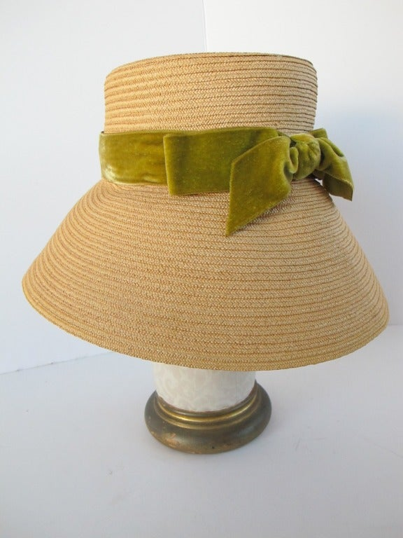 1960's Audrey Hepburn Style Italian Straw Hat 5