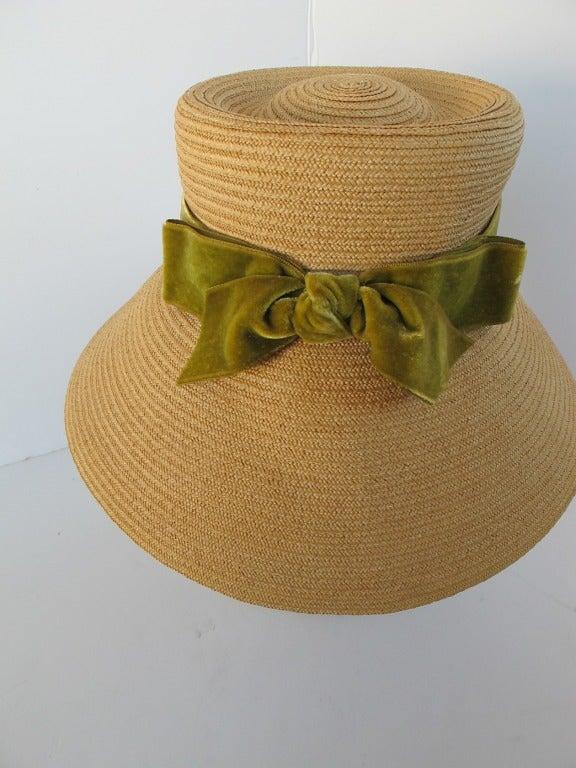 1960's Audrey Hepburn Style Italian Straw Hat 6
