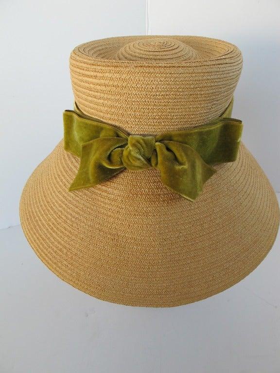 1960's Audrey Hepburn Style Italian Straw Hat 7