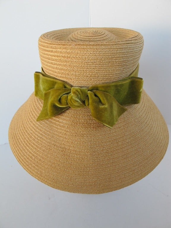 1960's Audrey Hepburn Style Italian Straw Hat 8