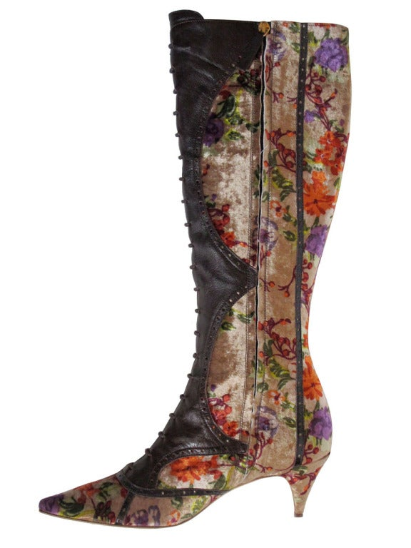etro leather and crushed velvet boho knee high boots at