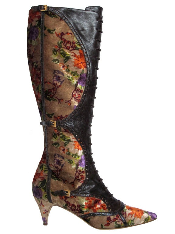 Etro Leather and Crushed Velvet Boho Knee High Boots 2