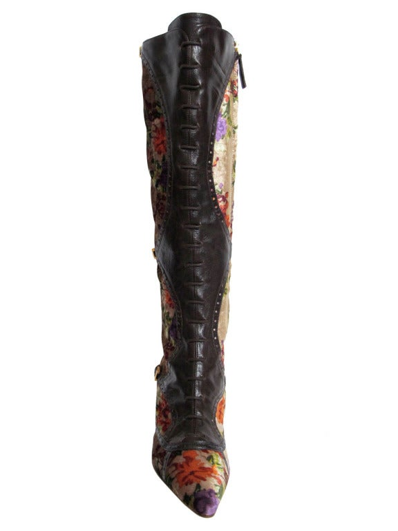 Etro Leather And Crushed Velvet Boho Knee High Boots For