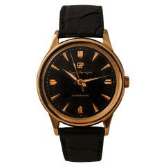 GIRARD-PERREGAUX Yellow Gold Gyromatic Automatic Wristwatch with Black Dial