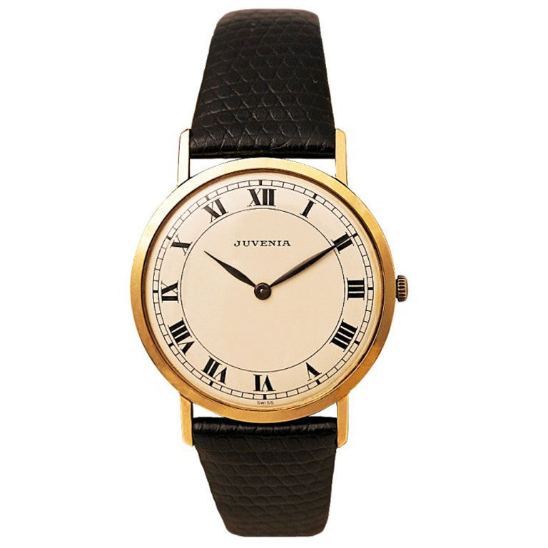 JUVENIA Yellow Gold Dress Watch with Roman numerals circa 1960s 1
