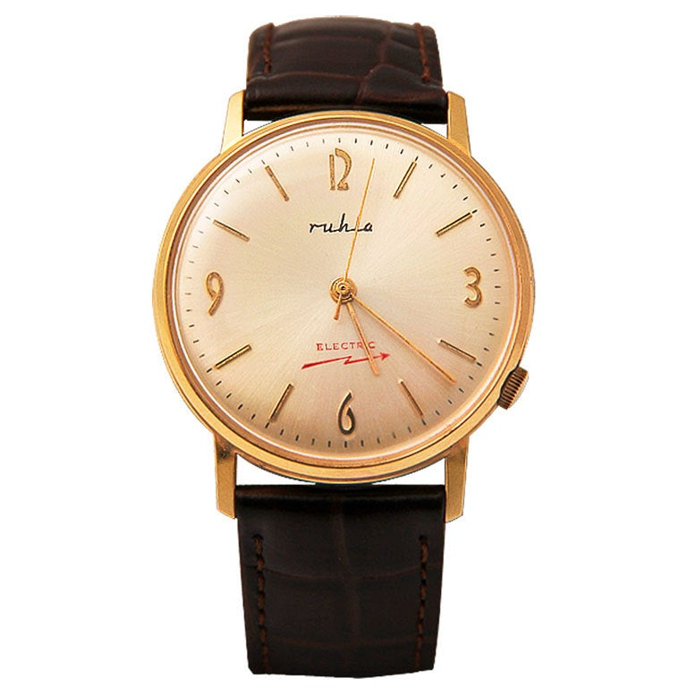 RUHLA Rare Gilt and Steel Electric Wristwatch 1