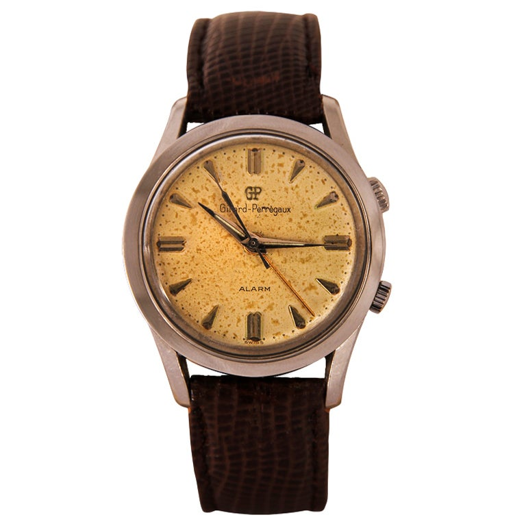 GIRARD-PERREGEAUX Stainless Steel Center Seconds Wristwatch with Alarm and Presentation Inscription 1