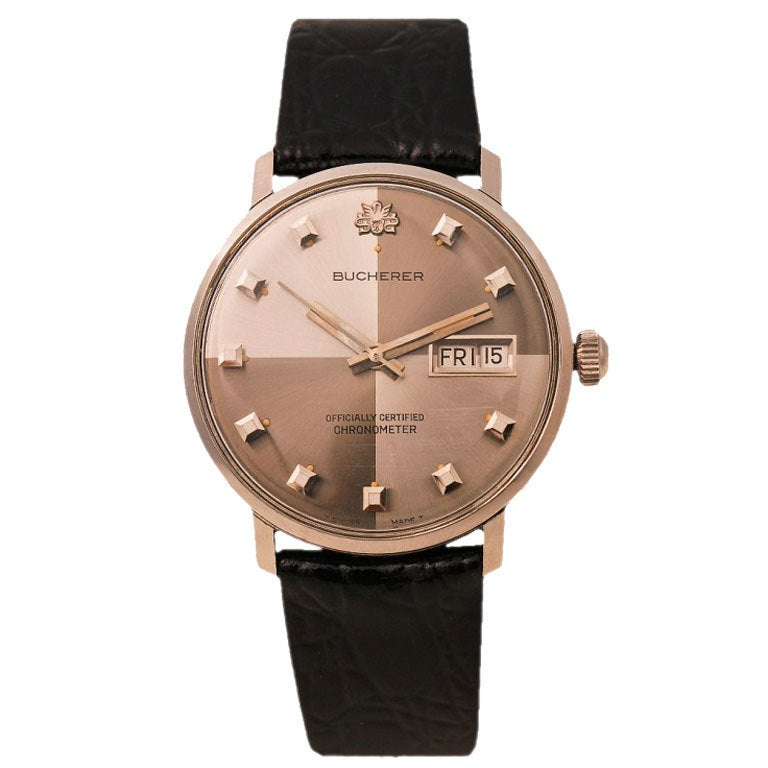 BUCHERER Stainless Steel Day-Date Wristwatch circa 1960s 1