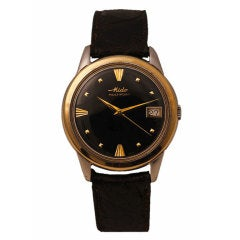 MIDO Yellow Gold Multifort Automatic Wristwatch with Black Dial and Date