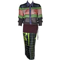 1996 Jean Paul Gaultier Print Shirt/Wrap Dress