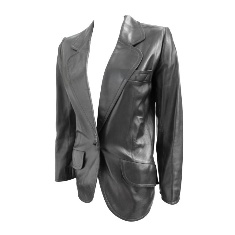 1990 yves saint laurent haute couture leather jacket for Haute couture jacket