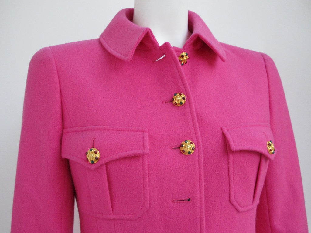 Women's Chanel Military Style Fuchsia Jacket with Gripoix Buttons