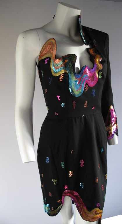 Rare 1990s Thierry Mugler One-Shoulder Asymmetric Dress w/Iconic Sequin Design 5