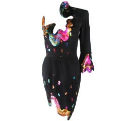 Rare 1990s Thierry Mugler One-Shoulder Asymmetric Dress w/Iconic Sequin Design