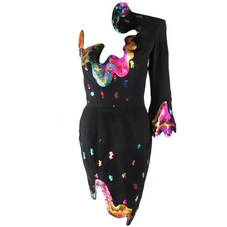Rare 1990s Thierry Mugler One-Shoulder Asymmetric Dress w/Iconic Sequin Design For Sale