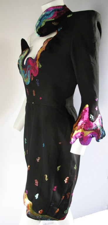 Rare 1990s Thierry Mugler One-Shoulder Asymmetric Dress w/Iconic Sequin Design 6