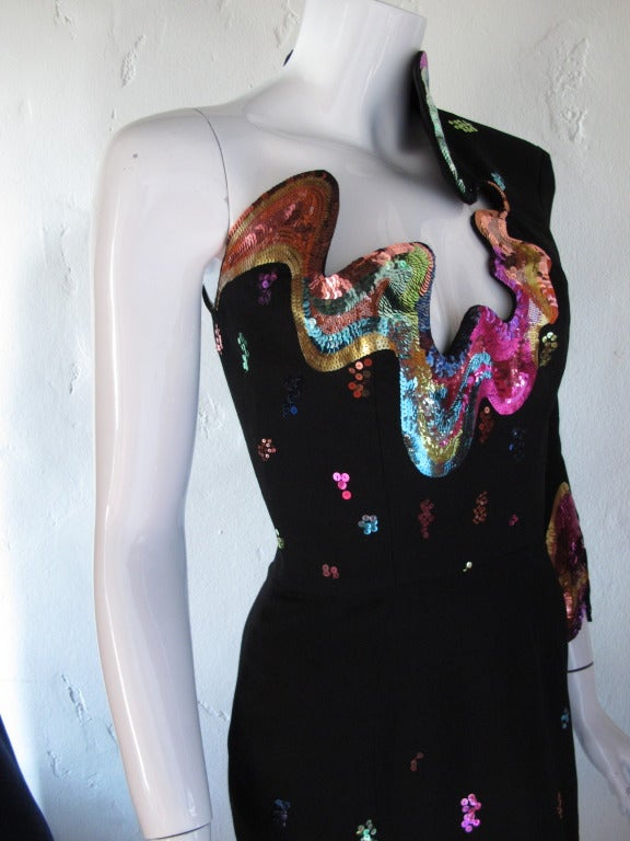 Rare 1990s Thierry Mugler One-Shoulder Asymmetric Dress w/Iconic Sequin Design 3