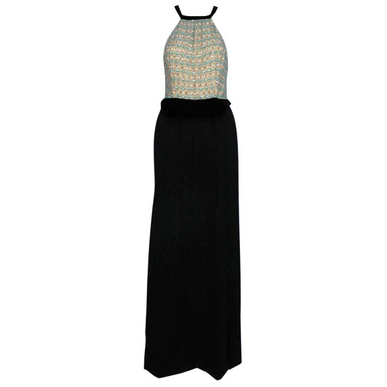 """Courreges """"Haute Couture Paris"""" Label Evening Dress, 1970's"""