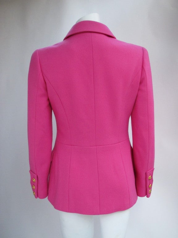 Chanel Military Style Fuchsia Jacket with Gripoix Buttons 2
