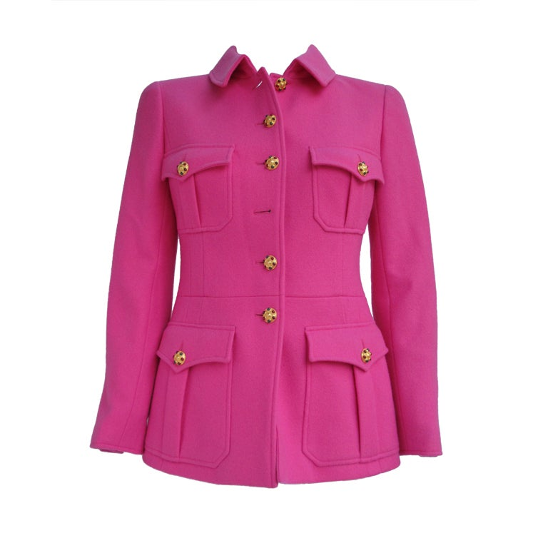 Chanel Military Style Fuchsia Jacket with Gripoix Buttons