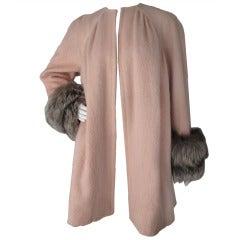 Christian Lacroix Haute Couture Mohair Coat w/Fox Fur Trim