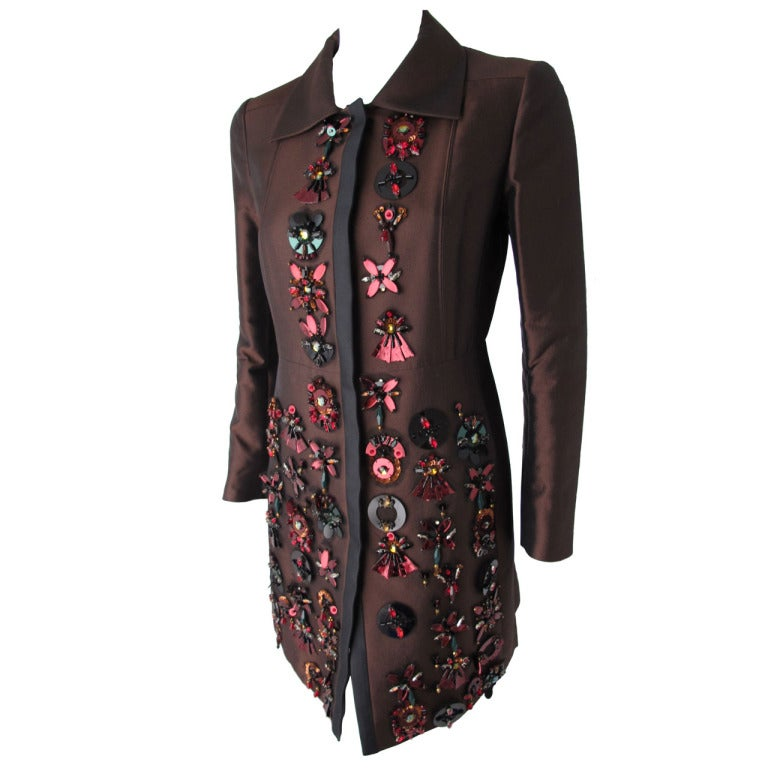 2005 Prada Coat w/Jeweled, Sequined & Tulle-Backed Appliques