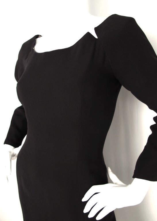 Women's 1988 Geoffrey Beene Little Black Dress w/Slit and Mother-of-Pearl Stars For Sale