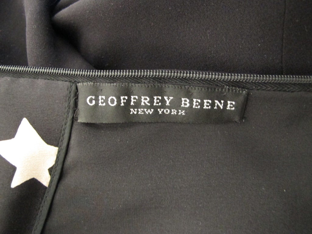 1988 Geoffrey Beene Little Black Dress w/Slit and Mother-of-Pearl Stars For Sale 2