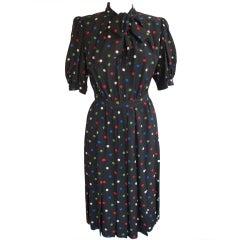 Vintage Yves St. Laurent Polka Dot Short Sleeve Silk Dress Sz 38