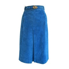 1970s Electric Blue Gucci Suede Skirt with Enamel Buckle