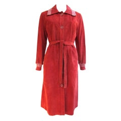 1970's Hermes Sport Suede Belted Coat w/Sweater Cuffs & Collar