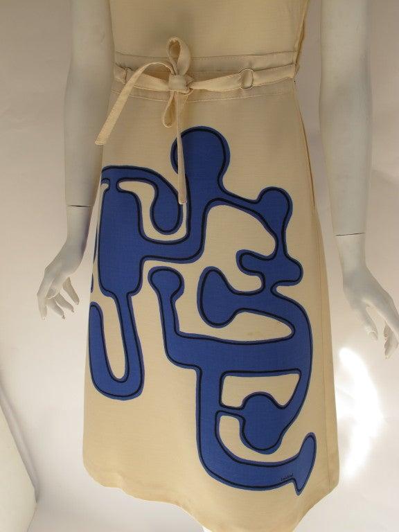 1960s Louis Feraud Wool Geometric Dress 3