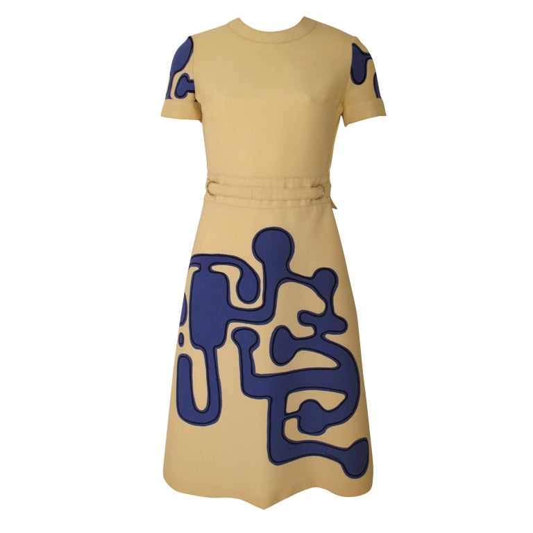 1960s Louis Feraud Wool Geometric Dress 1