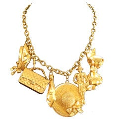 Chanel Gold Plated Charm Necklace w/6 Charms