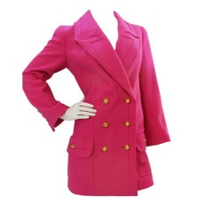 Chanel Double-Breasted Fuchsia Wool Coat with Gripoix Buttons