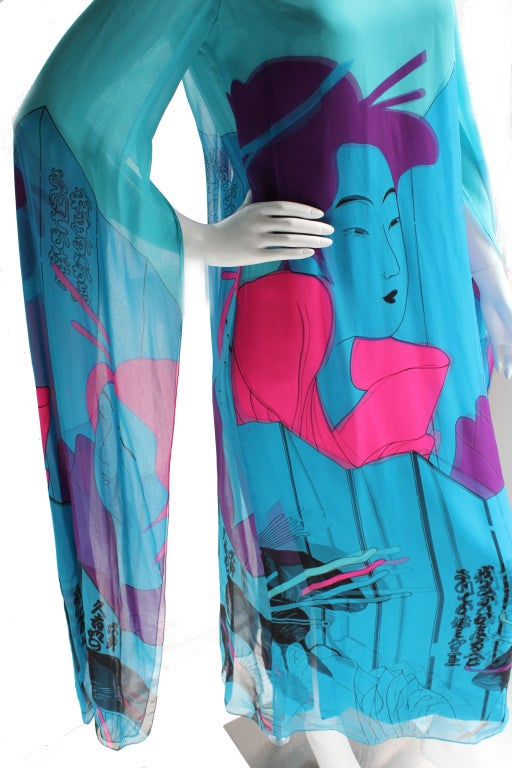 Vintage Hanae Mori Couture Double Silk 70s Dress w/Geisha print In Excellent Condition For Sale In Los Angeles, CA