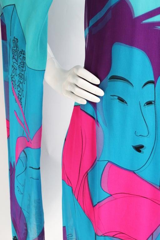 Women's Vintage Hanae Mori Couture Double Silk 70s Dress w/Geisha print For Sale
