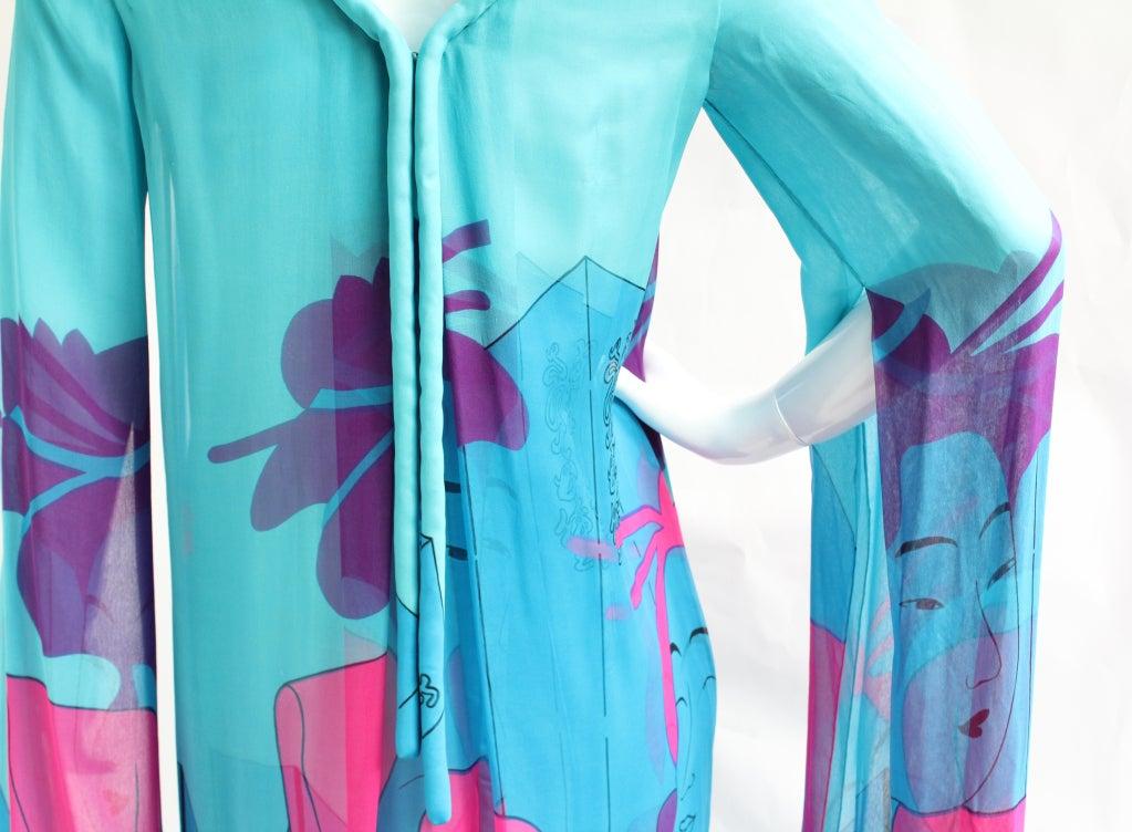 Vintage Hanae Mori Couture Double Silk 70s Dress w/Geisha print For Sale 1