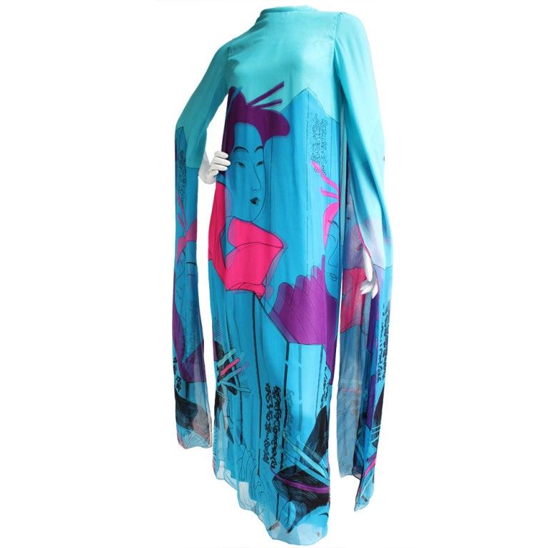 Vintage Hanae Mori Couture Double Silk 70s Dress w/Geisha print For Sale