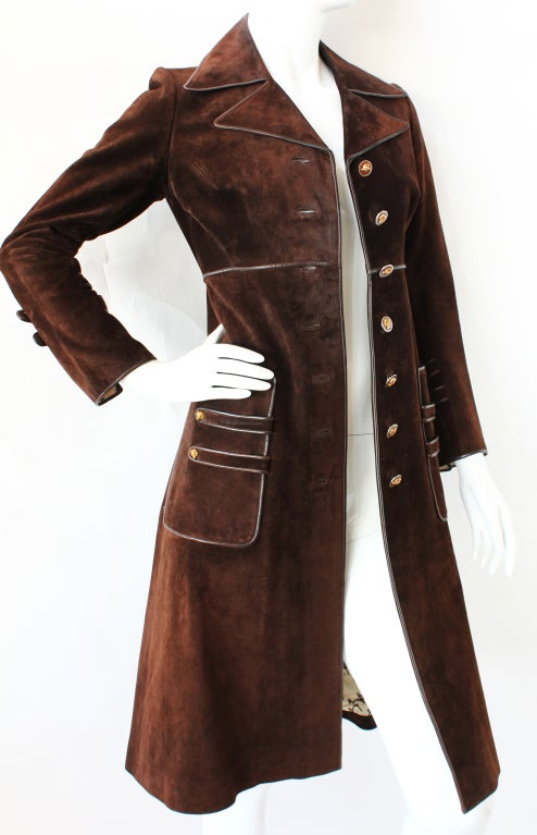 70s Gucci Suede Coat with Enameled Fox Head Buttons 2