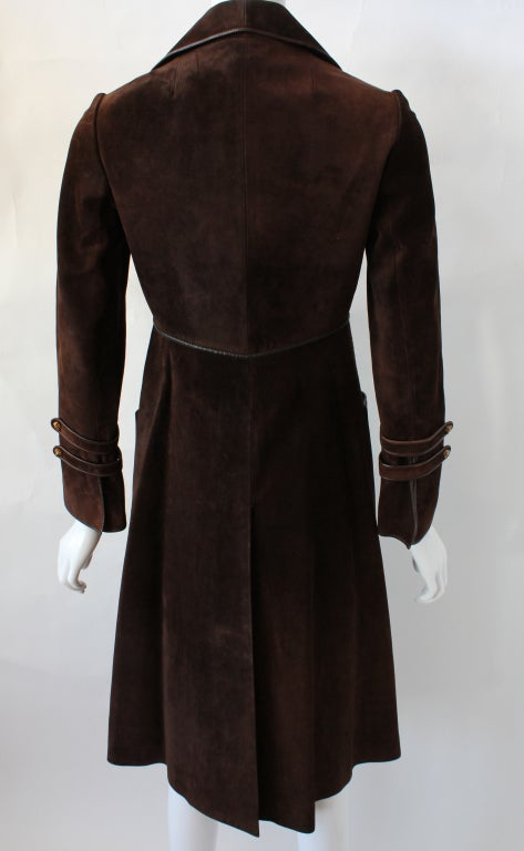 70s Gucci Suede Coat with Enameled Fox Head Buttons 3